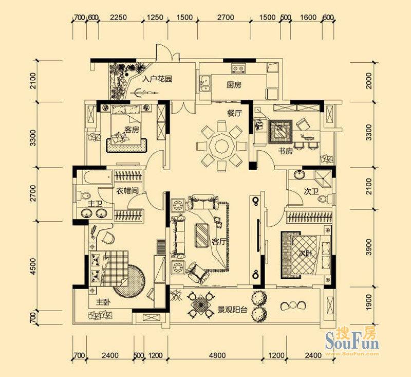 鲁能星城 4室2厅2卫装修效果图,室内设计效果图 齐家装修网高清图片