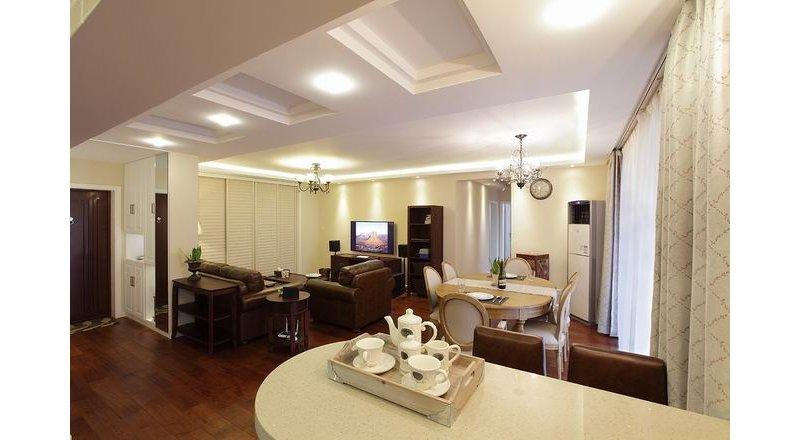 0平米美式公寓装修效果图,现代简美风装修案例效果图 齐家装修网高清图片