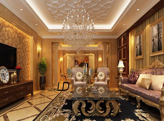 欧式奢华,以黄色为基调,石膏线条拼花吊顶让顶面富有层次却不压抑.图片