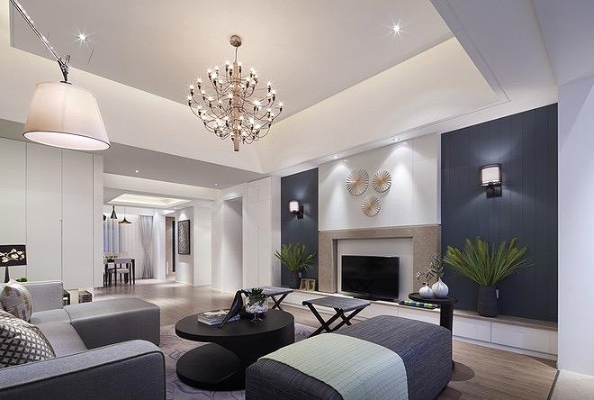 欧式客厅装修效果图 现代简约风格时尚130平米客厅装修图片