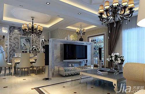 的界线,在客厅这一面设计成镶嵌式电视台,构思独特.图片
