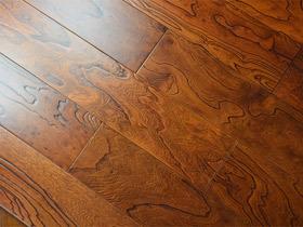 中式古典实木复合地板 榆木仿古浮雕 地暖 地热地板