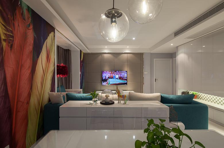 现代简约风格二居室时尚装修效果图高清图片