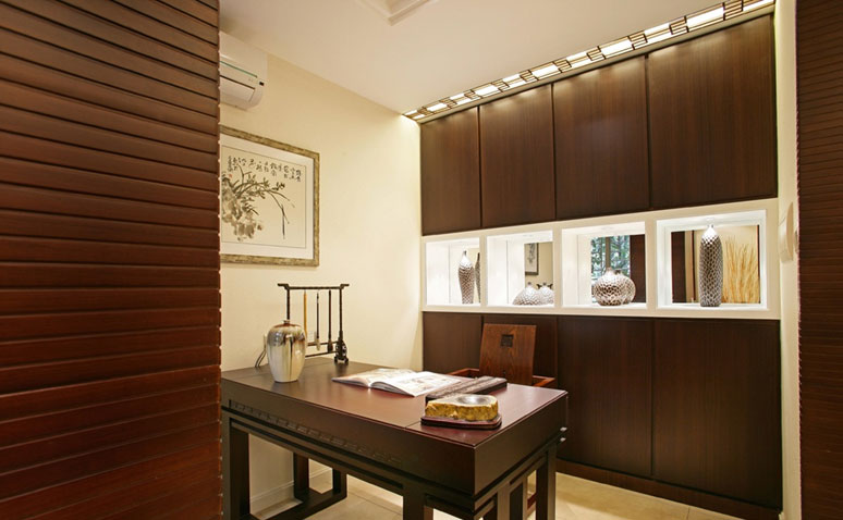 中式风格公寓大气褐色书房书桌图片_齐家网装修效果图图片
