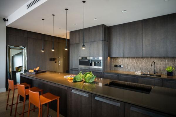 简约风格简洁黑白开放式厨房橱柜设计图_齐家网装修
