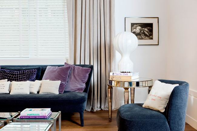 简约风格时尚蓝色客厅沙发布艺沙发图片
