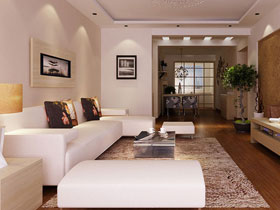 簡約白色客廳設計圖片