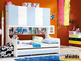 蓝白色上下床 5张清新感卧室图片