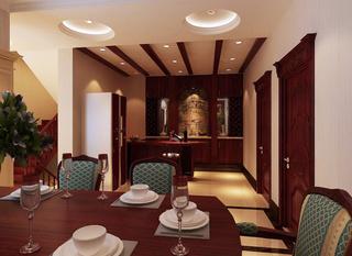 美式风格奢华餐厅吊顶装修图片