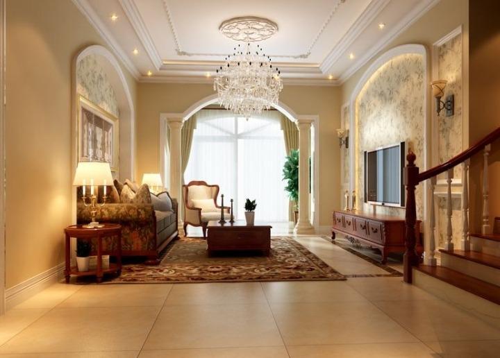 美式风格奢华客厅吊顶效果图图片