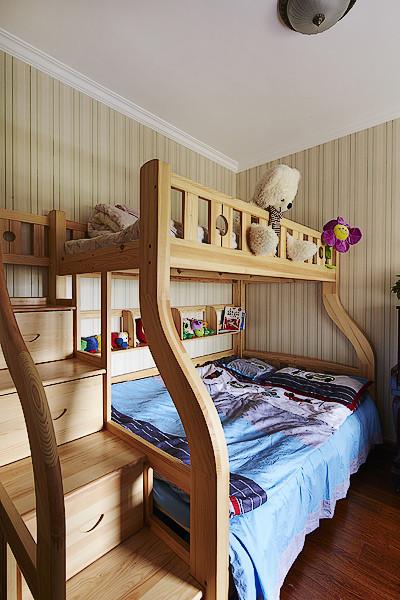 美式风格可爱原木色儿童床图片