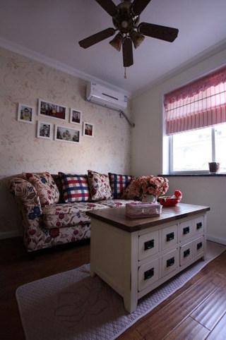 混搭风格一室一厅温馨客厅旧房改造设计图纸