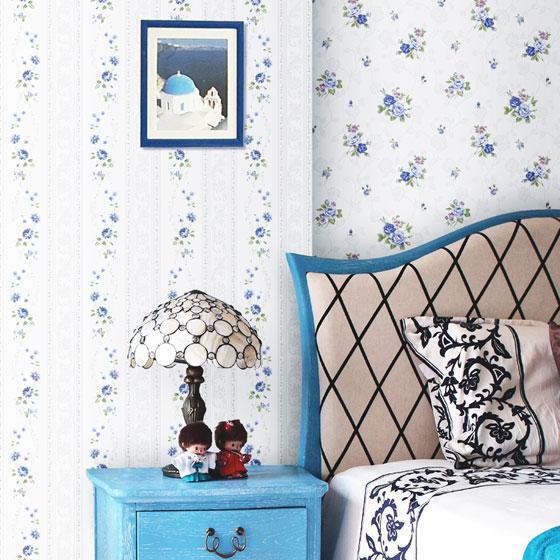 田园风格条纹卧室装修图片