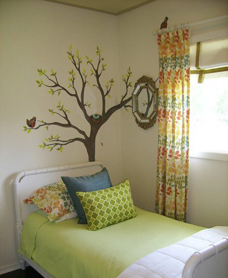 树枝爬上墙 18款唯美手绘墙设计图_齐家网装修效果图