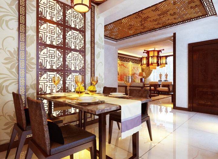 中式风格古典红色餐桌图片