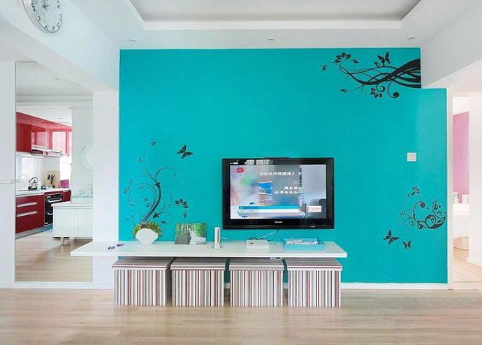 简约风格艺术手绘墙设计图图片
