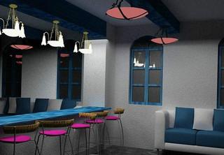 地中海风格蓝色厨房餐桌效果图