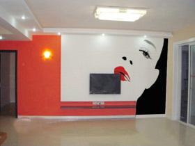 电视背景墙墙绘 16款DIY手绘墙图片