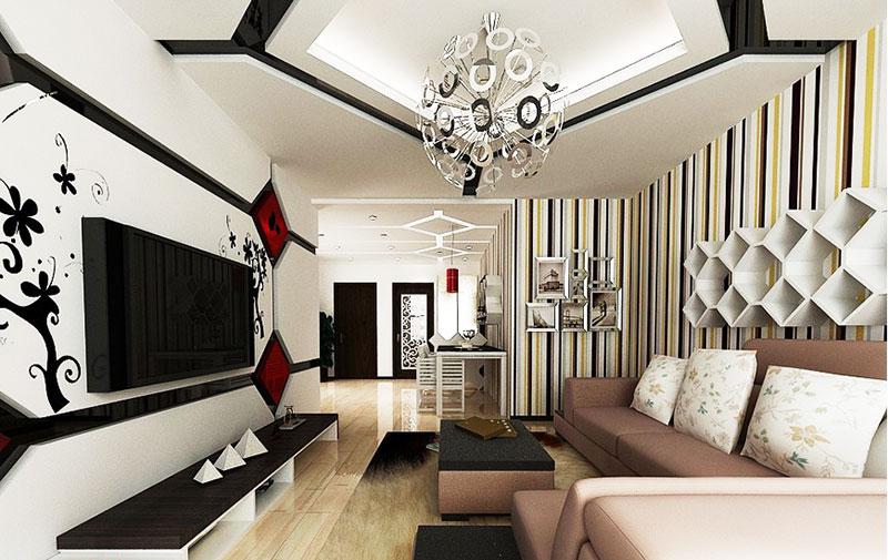 简约风格大气电视背景墙设计图
