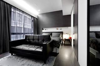 现代简约风格别墅时尚黑白卧室效果图