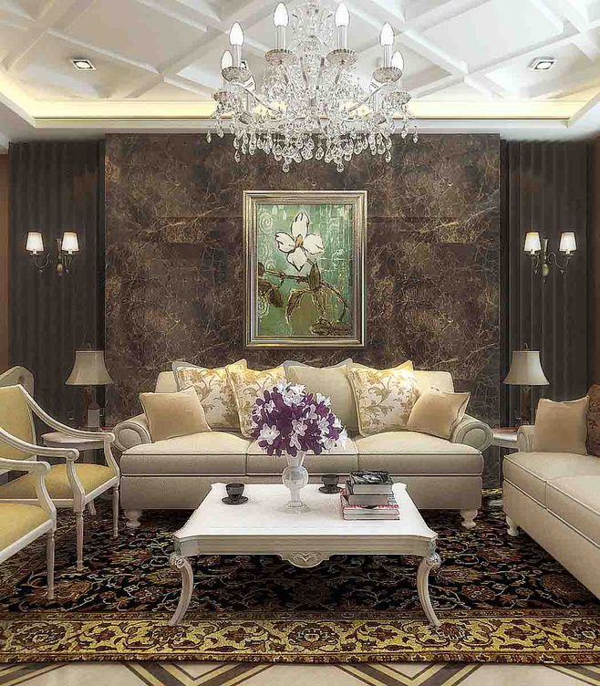 欧式风格奢华黑色沙发背景墙设计图纸