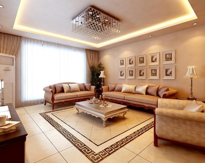 欧式风格奢华米色沙发背景墙设计图纸