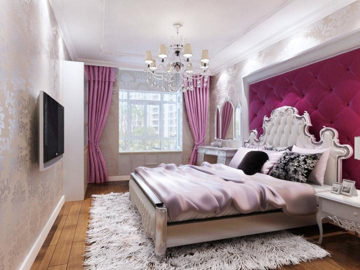 美式风格格子床头软包设计_齐家网装修效果图图片