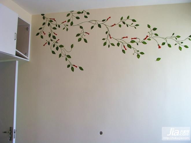手绘乳胶漆墙体 时尚简约卧室装修效果图