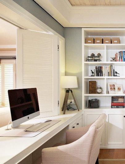 美式风格白色书桌效果图