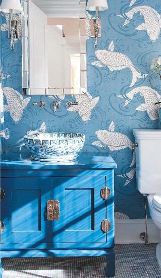 蓝色卫生间壁纸图片