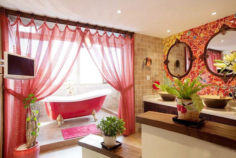 新中式风格红色卫生间窗帘效果图图片
