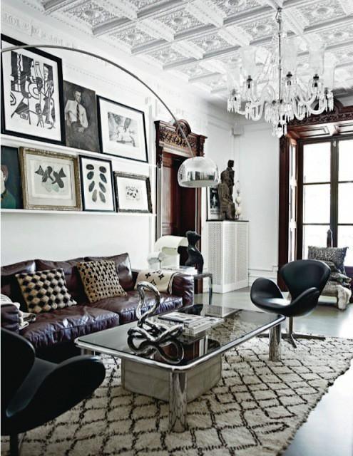 美式风格黑白沙发背景墙装修图片