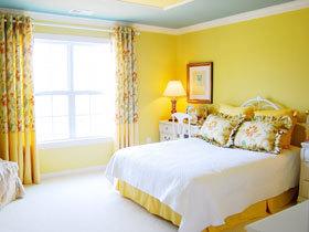 抬头看风景 16款黄色卧室背景墙图
