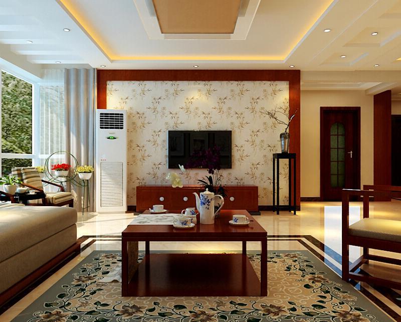中式风格三居室大气电视背景墙装修效果图
