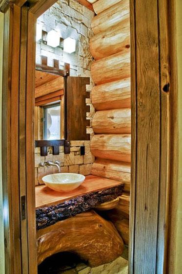 大气原木色卫生间洗手台图片