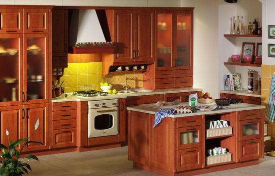 古典红色橱柜设计