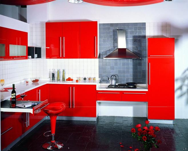 小清新红色橱柜设计图纸