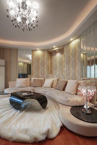 欧式风格奢华130平米客厅沙发婚房平面图
