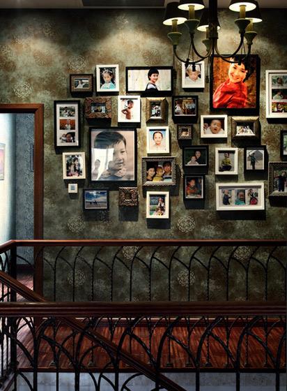 美式风格别墅奢华照片墙设计图