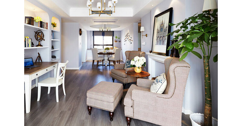 130平米美式三居室装修效果图,简约美式130平装修案例效果图 齐家高清图片