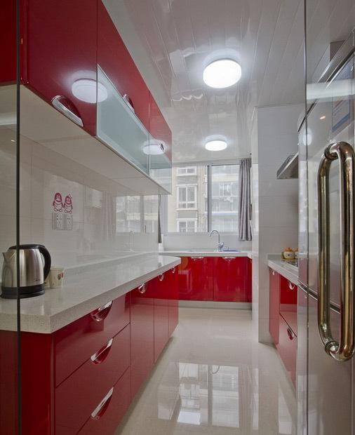 小清新红色橱柜设计图
