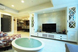 美式风格大气白色电视柜效果图
