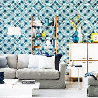 时尚蓝色客厅壁纸效果图