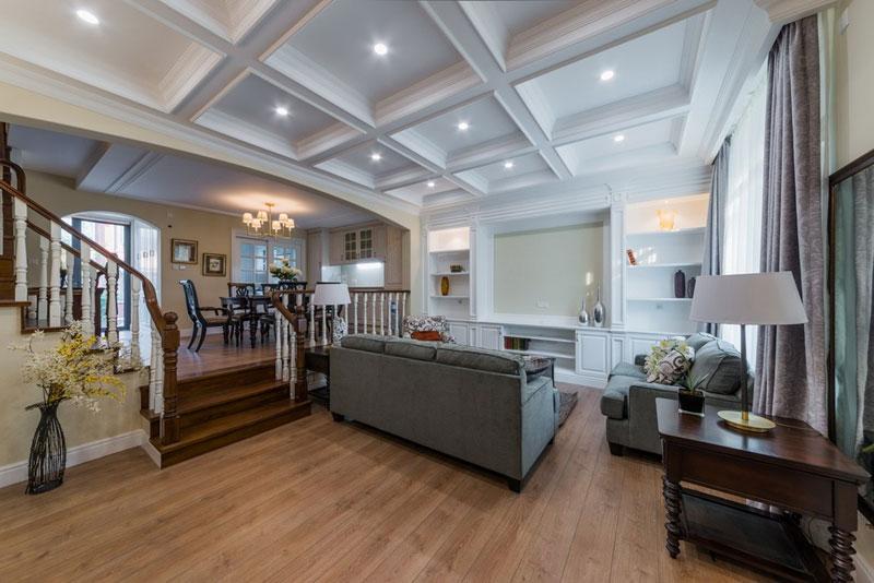 美式风格卧室复式别墅舒适玄关屏风隔断设计图纸