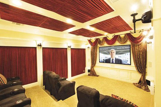 美式风格影音室沙发效果图图片