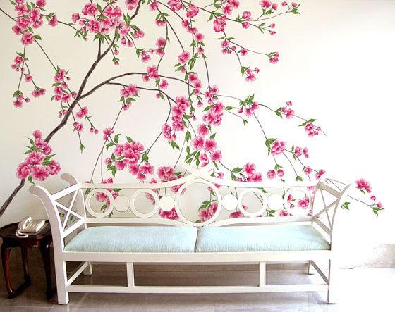 韩式田园风格唯美手绘墙设计