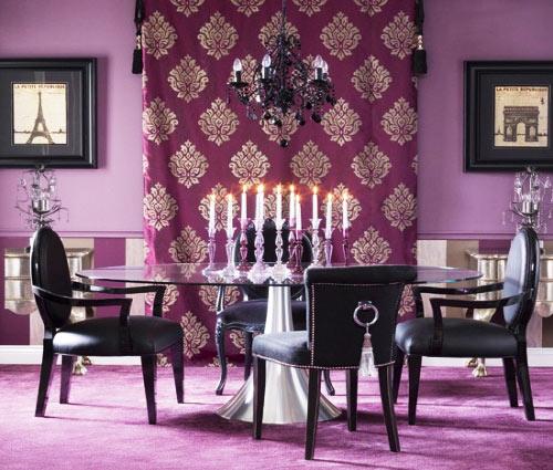 紫色餐厅窗帘效果图