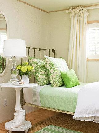 田园风格米色卧室窗帘窗帘效果图