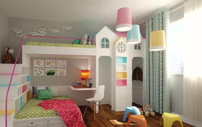美式风格另类儿童房儿童床效果图图片