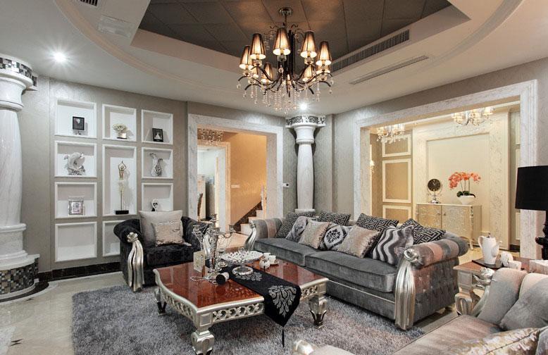 新古典风格别墅奢华客厅沙发沙发效果图